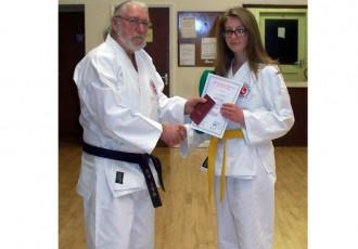 Sophia Receives 5th Kyu Award From Reg
