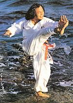 Pictures of Nanbu, Sankukai - Karate Kick Demonstration