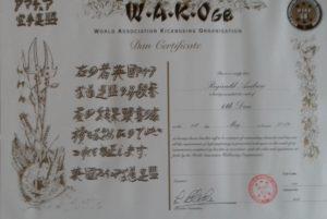 Reg's 6th Dan Certificate